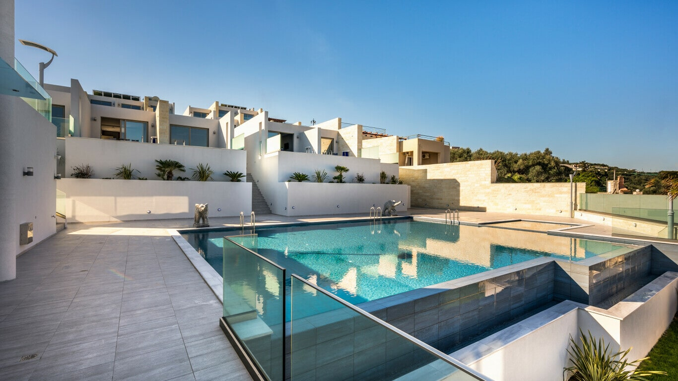 luxury hotel construction with swimming pool - Crete
