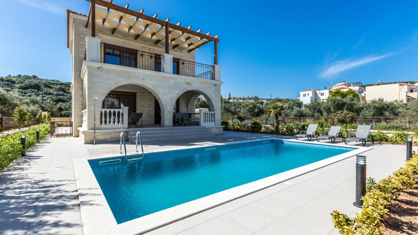 Villa with swimming pool in Chania-- sale and construction of villas