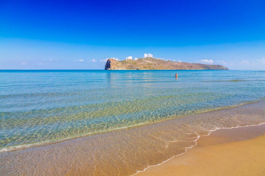 Thodorou island- view from sandy beach of Gerani in Chania