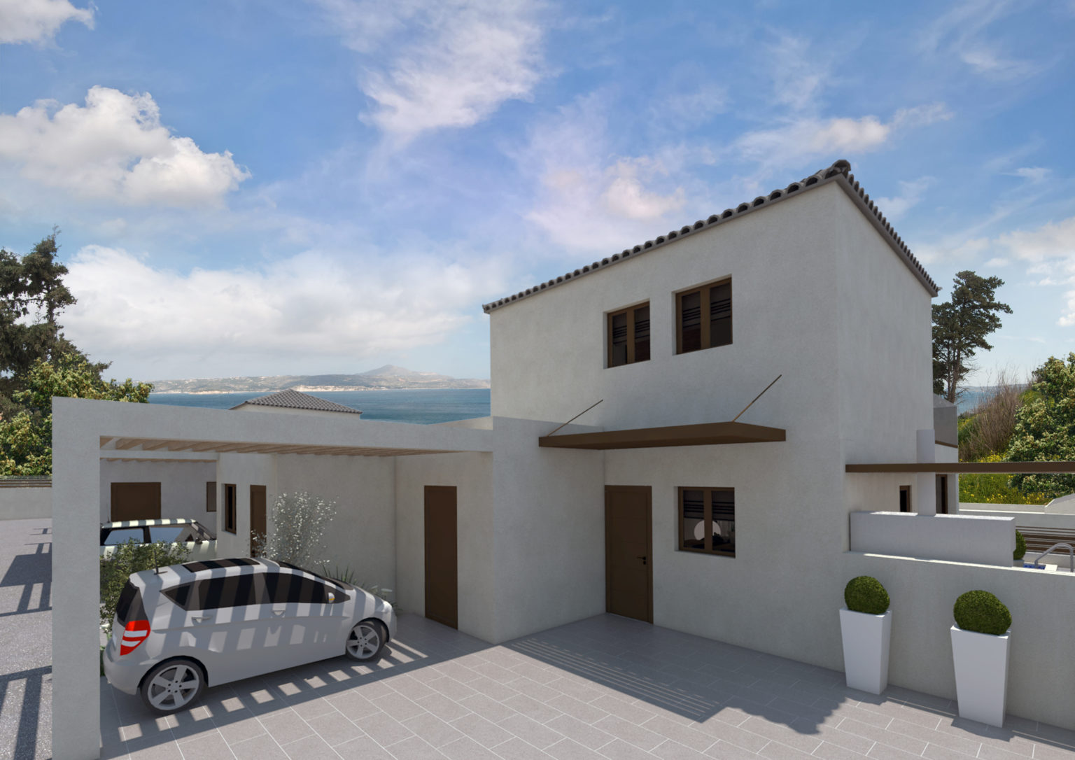 complex and villa for sale in kalives- Parking and exterior view