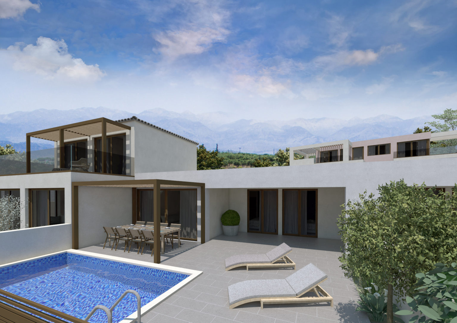 complex and villa for sale in kalives- swimming pool exterior view