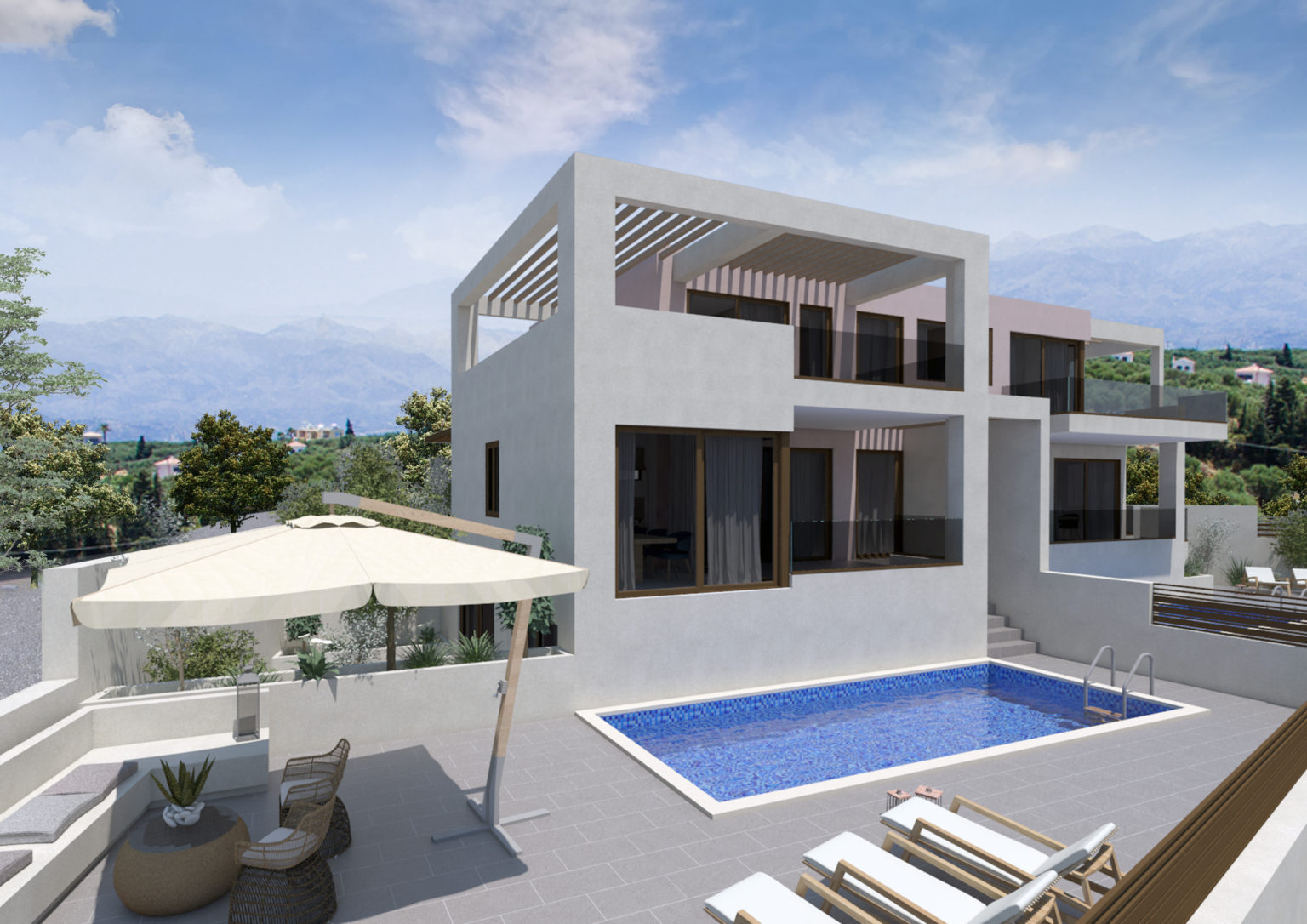 complex and villa for sale in kalives- Swimming Pool area