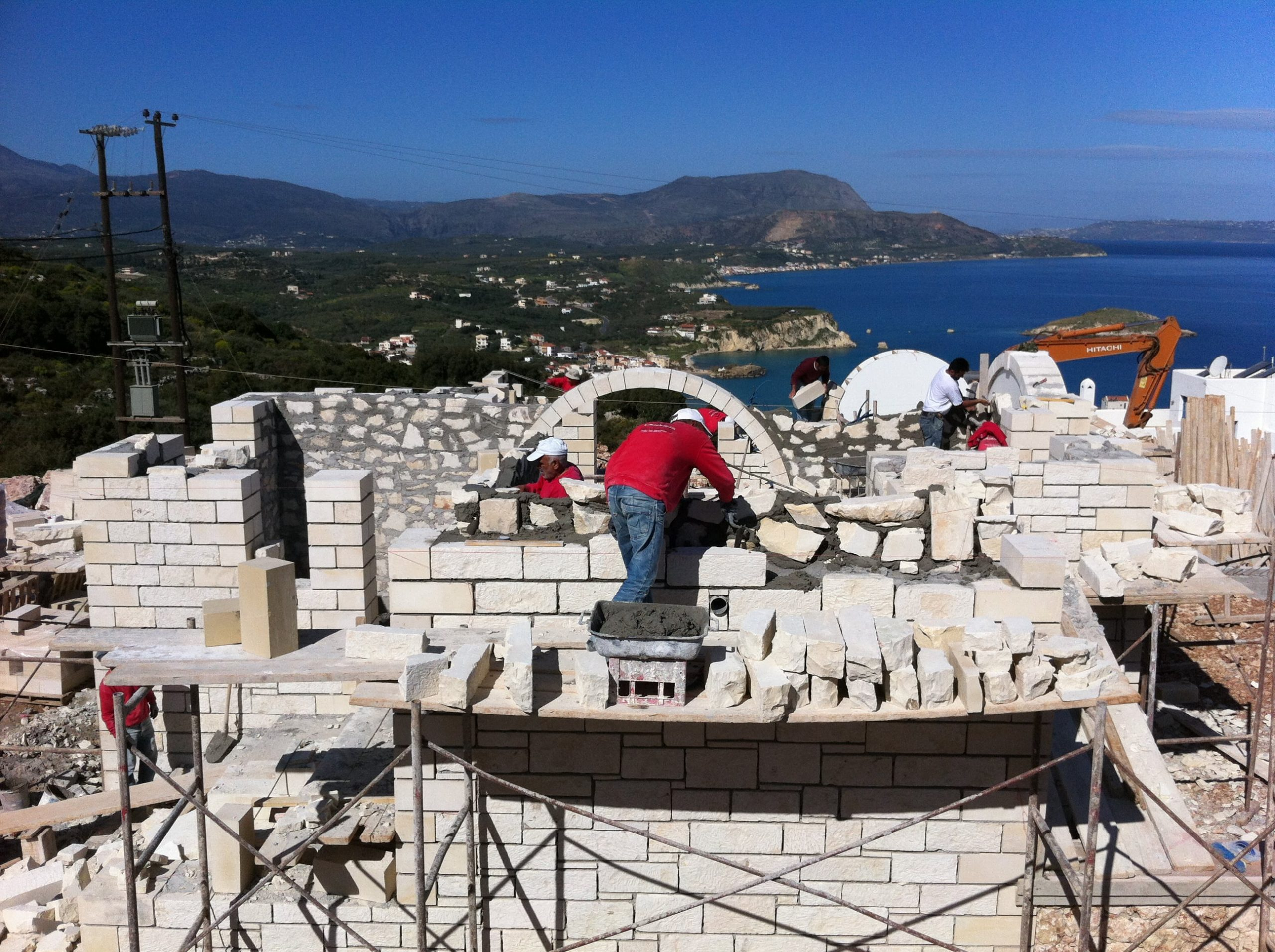 Construction Workers for ous villas in Crete- Kyriakidis Construction Company